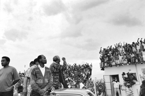 Mandela, campaigning in 1994, photographed by Ozier Muhammad